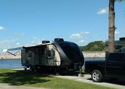 Waterfront campsite at Sunset Shores on Lake Conroe