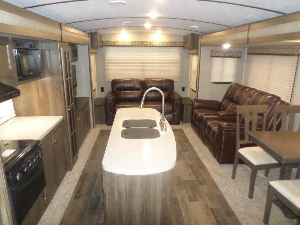 Spacious kitchen inside an RV for rent in Houston