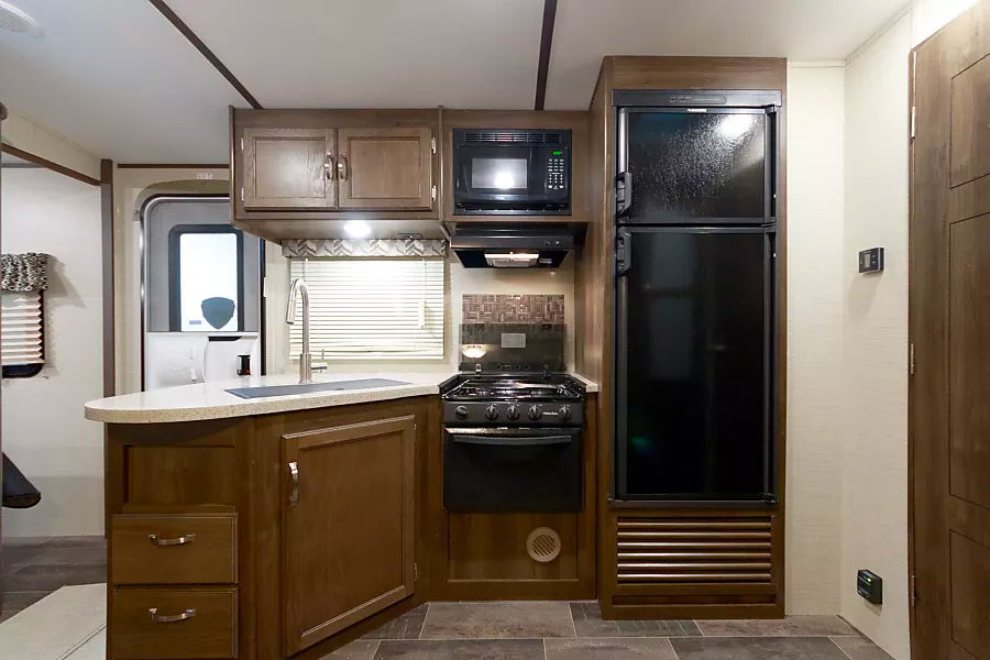 "Kitchen of travel trailer ""Texas Whiskey"""